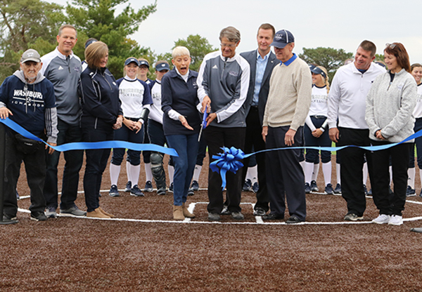 Softball renovations ribbon cutting