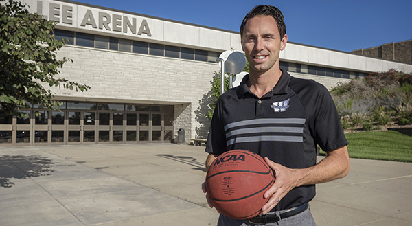Brett Ballard in front of Lee Arena