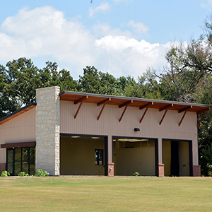 The indoor golf practice facility