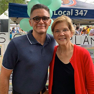 Student Adam Young with Elizabeth Warren