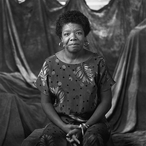 "Maya Angelou's portrait in ""I Dream a World"""