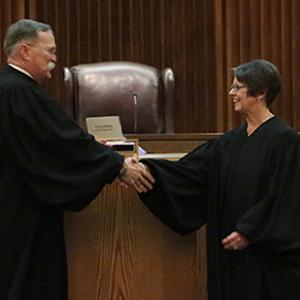 Chief Justice Marla Luckert being sworn in