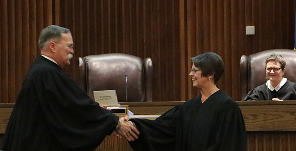 Chief Justice Marla Luckert being sworn in