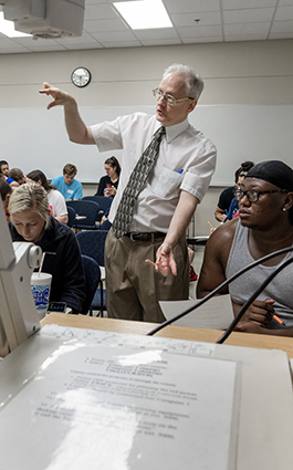 Dr. Charlwood teaching a math class