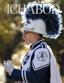 Marching band member in uniform on cover of The Ichabod winter 2020