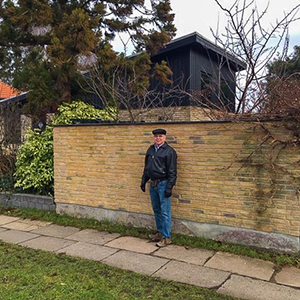 Richard Ross outside home he stayed in as student in Denmark