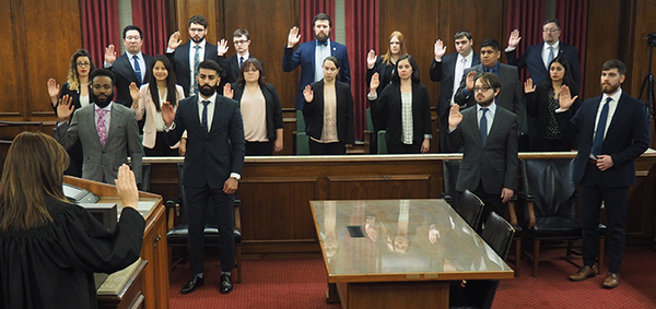 Law students at 2019-20 Law Clinic swearing-in