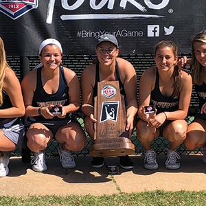 Washburn women's tennis with the 2019 MIAA trophy
